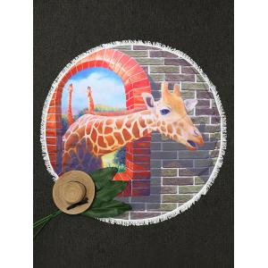 Round Giraffe Print Beach Throw with Fringes