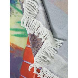 Round Giraffe Print Beach Throw with Fringes - COLORMIX ONE SIZE