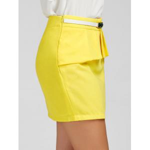 Ruffle Belt Insert Mini Fitted Skirt - YELLOW M