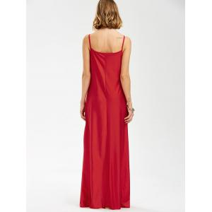 Spaghetti Strap Lace Trim Backless Floor Length Dress - RED M