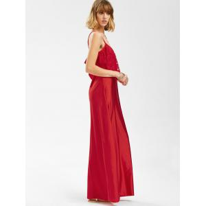 Spaghetti Strap Lace Trim Backless Floor Length Dress - RED L