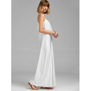 Spaghetti Strap Lace Trim Backless Floor Length Dress - WHITE S