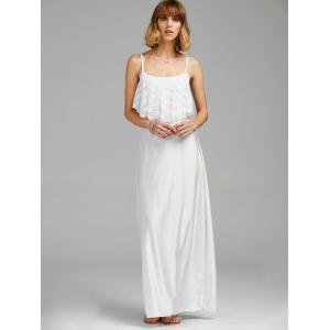 Spaghetti Strap Lace Trim Backless Floor Length Dress - WHITE M