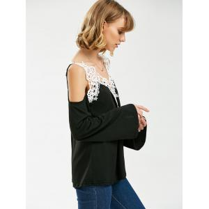 Crochet Trim Cold Shoulder Long Sleeve Top - BLACK M