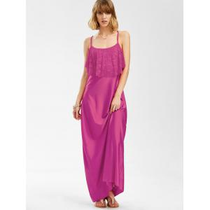Sleeveless Lace Trim Backless Floor Length A Line Beach Maxi Dress - ROSE MADDER S
