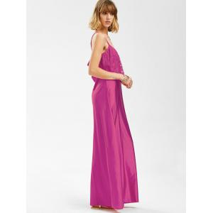 Long Slip Lace Trim Backless Floor Length Dress - ROSE MADDER S