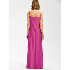 Long Slip Lace Trim Backless Floor Length Dress - ROSE MADDER L