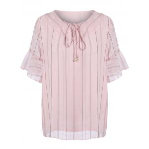 Plus Size Self Tie Flounce Chiffon Bell Sleeve Top - Pink - 4xl
