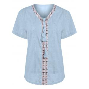 Plus Size Translucent Lace Up Peasant Linen Top
