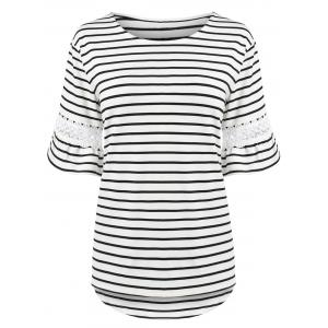 Plus Size Stripe Bell Sleeve T-Shirt with Lace Trim - White - 5xl