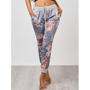 Ankle Length Floral Jogger Pants - GRAY M