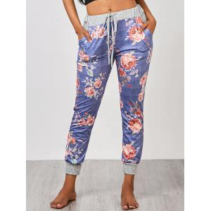 Ankle Length Floral Jogger Pants - Blue - Xl