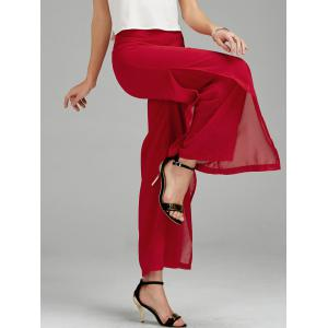 Chiffon Flowy Slit Wide Leg Palazzo Pants - Red - L