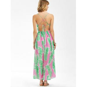 Maxi Chiffon Split Backless Pineapple Print Slip Dress - GREEN XL