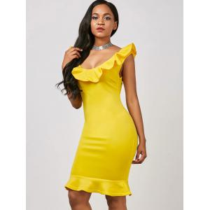 Flounce Fishtail Short Formal Party Dress - YELLOW S