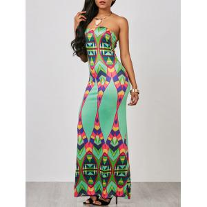Geometric Strapless Bodycon Maxi Prom Dress