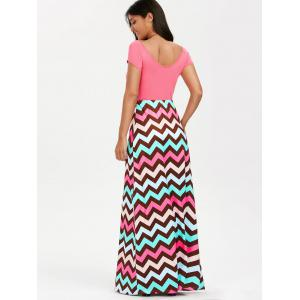 Scoop Neck Chevron Maxi Party Dress - LIGHT PINK 2XL