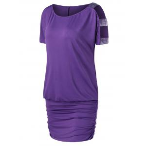 Rhinestone Decorated Open Shoulder Tee Dress - Purple - 2xl