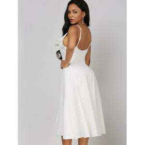 Ruffle High Low Slip Dress - WHITE L