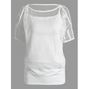 Mesh Insert Cold Shoulder Top - White - One Size(fit Size Xs To M)