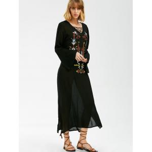Maxi Embroidered Long Sleeve Casual Boho Dress - BLACK ONE SIZE