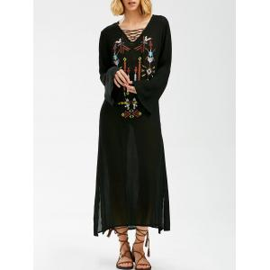 Maxi Embroidered Long Sleeve Casual Boho Dress