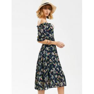 Flower Print Off The Shoulder Midi Chiffon Dress -
