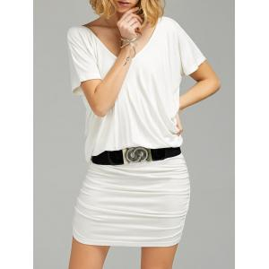 Ruched V Neck Tee Dress with Belt