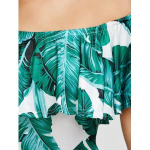 Leaf Print Ruffle Off The Shoulder Summer Dress - WHITE AND GREEN L
