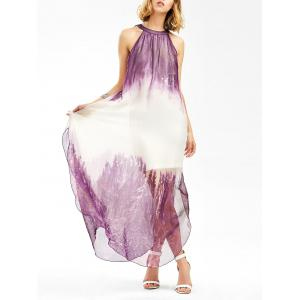 Side Slit Sleeveless Maxi Flowing Dress - White + Purple - Xl