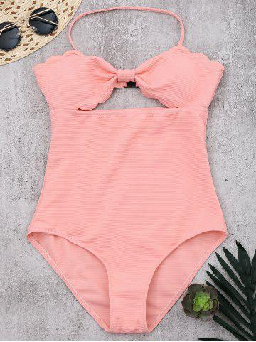 Halter One Piece Scalloped Swimsuit