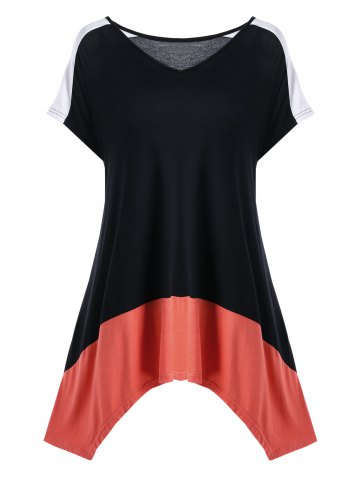 3e5b39d5b04e9 Plus Size V Neck Color Block T-Shirt