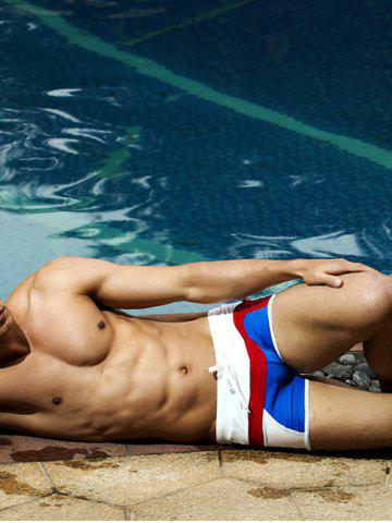 Sale Drawstring Color Block Swimming Trunks - L BLUE AND WHITE Mobile