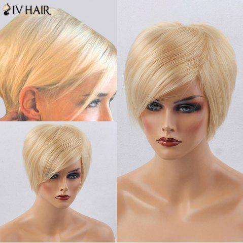New Siv Hair Short Side Bang Silky Straight Human Hair Wig - GOLDEN BROWN WITH BLONDE  Mobile