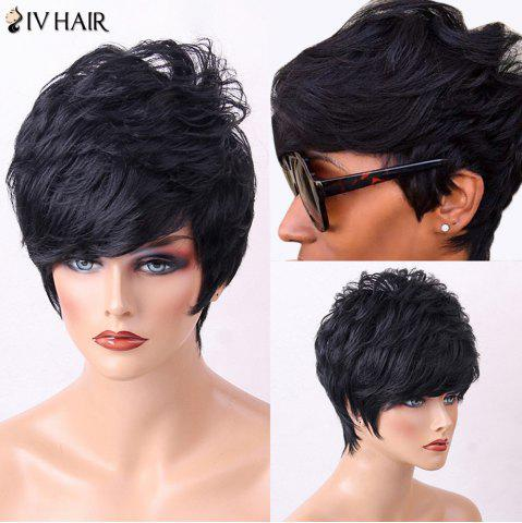 Store Siv Hair Short Side Bang Layered Fluffy Slightly Curly Human Hair Wig - JET BLACK #01  Mobile