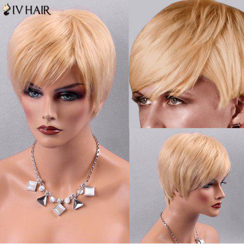 Best Siv Hair Silky Short Straight Inclined Bang Human Hair Wig - BLONDE  Mobile