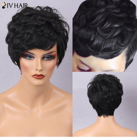 Cheap Siv Hair Short Fluffy Layered Texture Curly Human Hair Wig - JET BLACK #01  Mobile