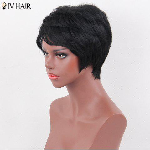 Chic Siv Hair Side Bang Natural Short Straight Layered Human Hair Wig - JET BLACK 01#  Mobile