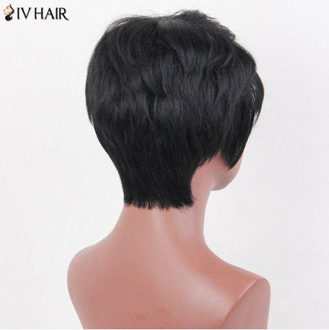 Latest Siv Hair Side Bang Natural Short Straight Layered Human Hair Wig - JET BLACK 01#  Mobile