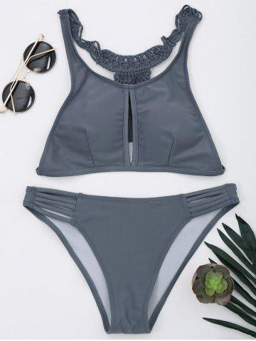 Cheap Braided Racerback Strappy Bikini Set - L GRAY Mobile
