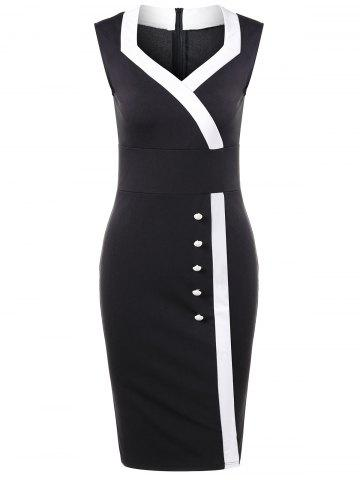 Sweetheart Neck Tight Pencil Fitted Sheath Dress - Black - L