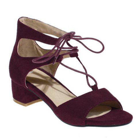 Discount Tie Up Mid Heel Sandals WINE RED 40