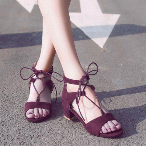 Outfits Tie Up Mid Heel Sandals - 40 WINE RED Mobile