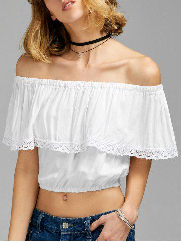 Flounce Off The Shoulder Crop Top - White - M