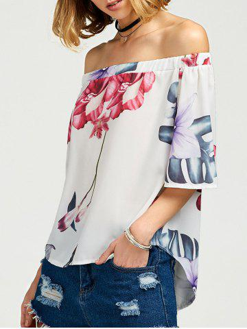 Hot Off The Shoulder Floral High Low Top WHITE S