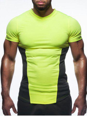 V Neck Two Tone Panel Tee - Fluorescent Yellow - M