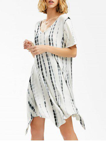 Trendy V Neck Asymmetrical Tie Dye T-Shirt Dress WHITE XL