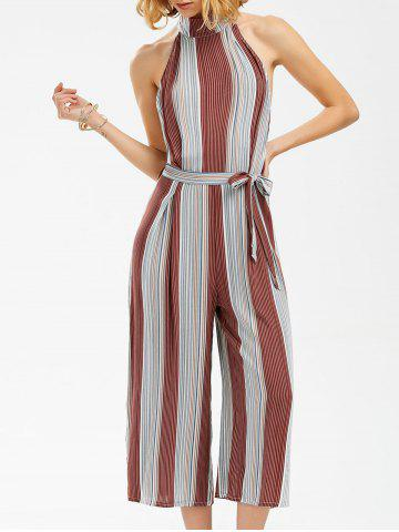 Backless Stripe Wide Leg Jumpsuit - Stripe - Xl