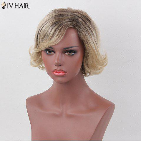 Cheap Siv Hair Shaggy Curly Inclined Bang Colormix Short Human Hair Wig - COLORMIX  Mobile