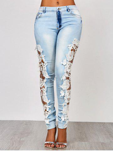 Cheap Lace Insert Washed Skinny Jeans AZURE L